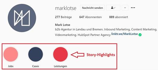 Instagram Story Highlights von Mark Lotse