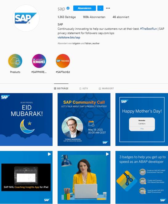 SAP Instagram Feed